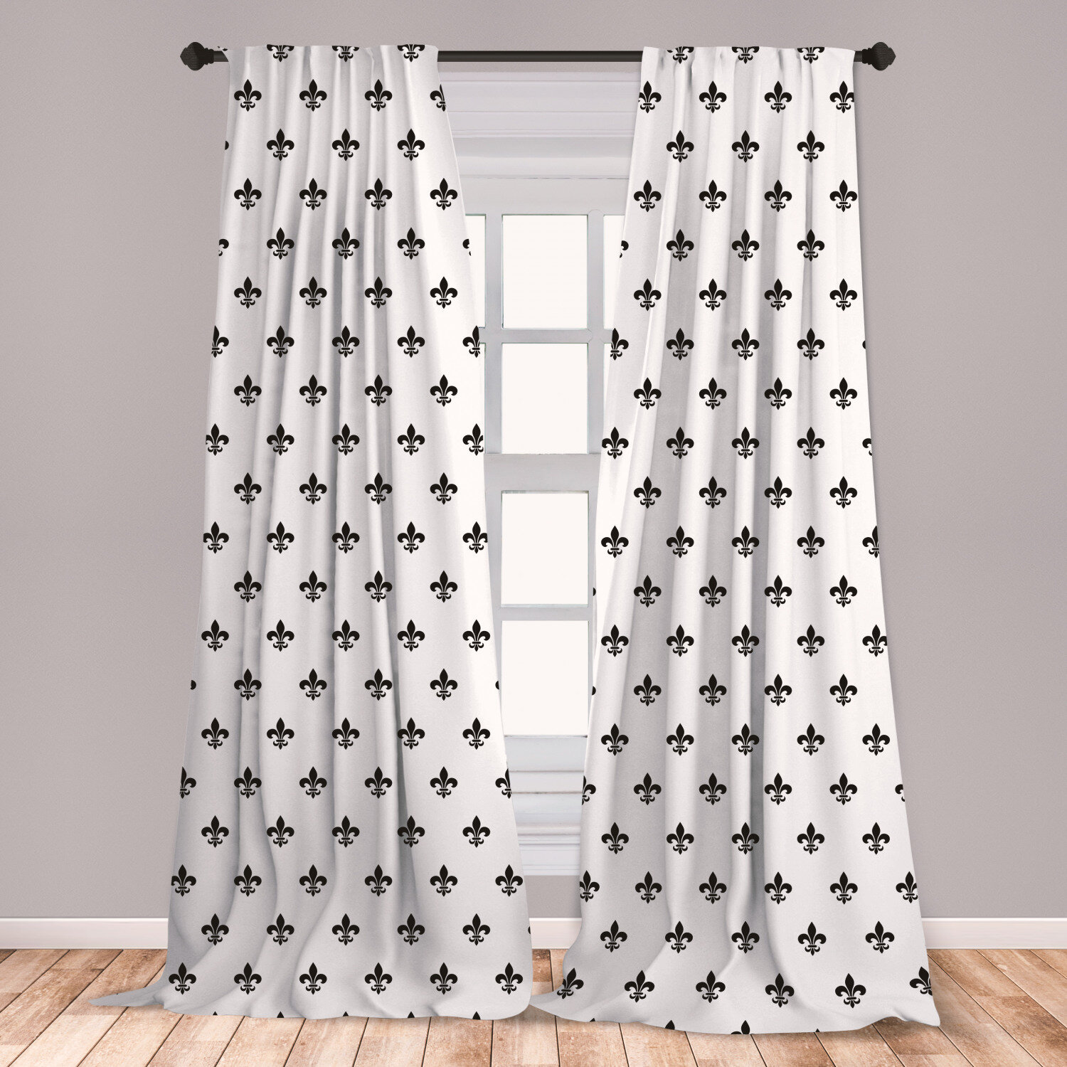 Ambesonne Fleur De Lis Curtains Pointed Leaves With Monochrome Design Abstract Clical Ornamental Pattern Window Treatments 2 Panel Set For Living