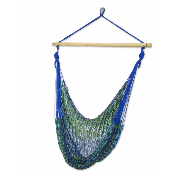 Single Person Multicolored Hand-Woven Mayan Artists of the Yucatan Natural Cotton With Accessories Included Swinging Chair Hammock by Novica