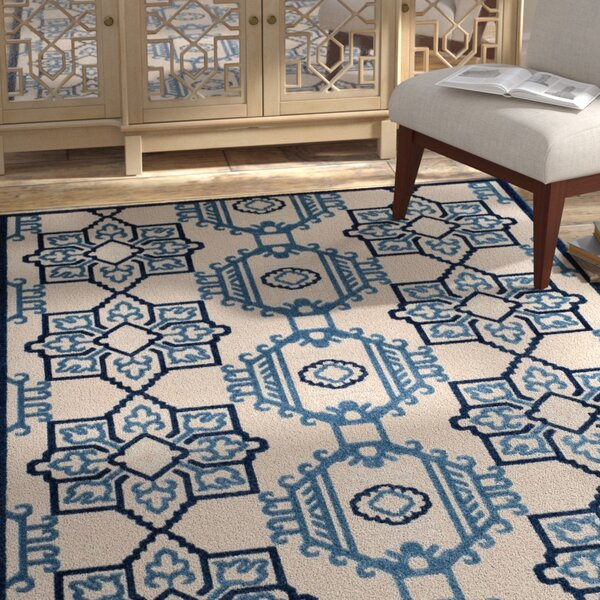 Reynolds Ivory/Blue Area Rug by Bungalow Rose
