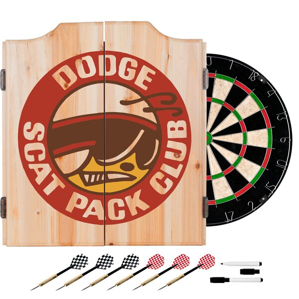 Dodge Scat Pack Club Dartboard and Cabinet Set by Trademark Global