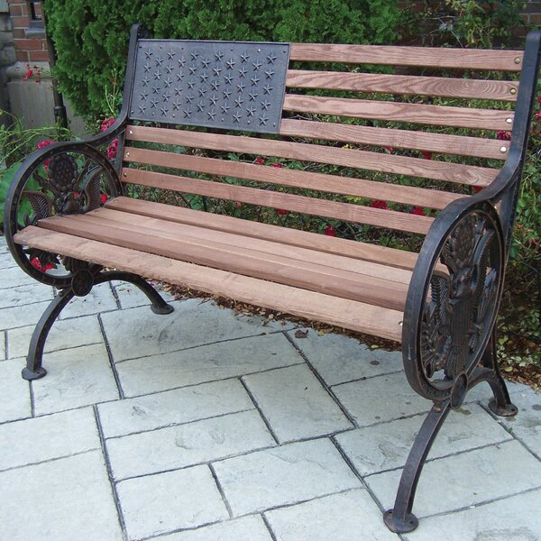 Proud American Wooden/Cast Iron Park Bench by Oakland LivingProud American Wooden/Cast Iron Park Bench by Oakland Living