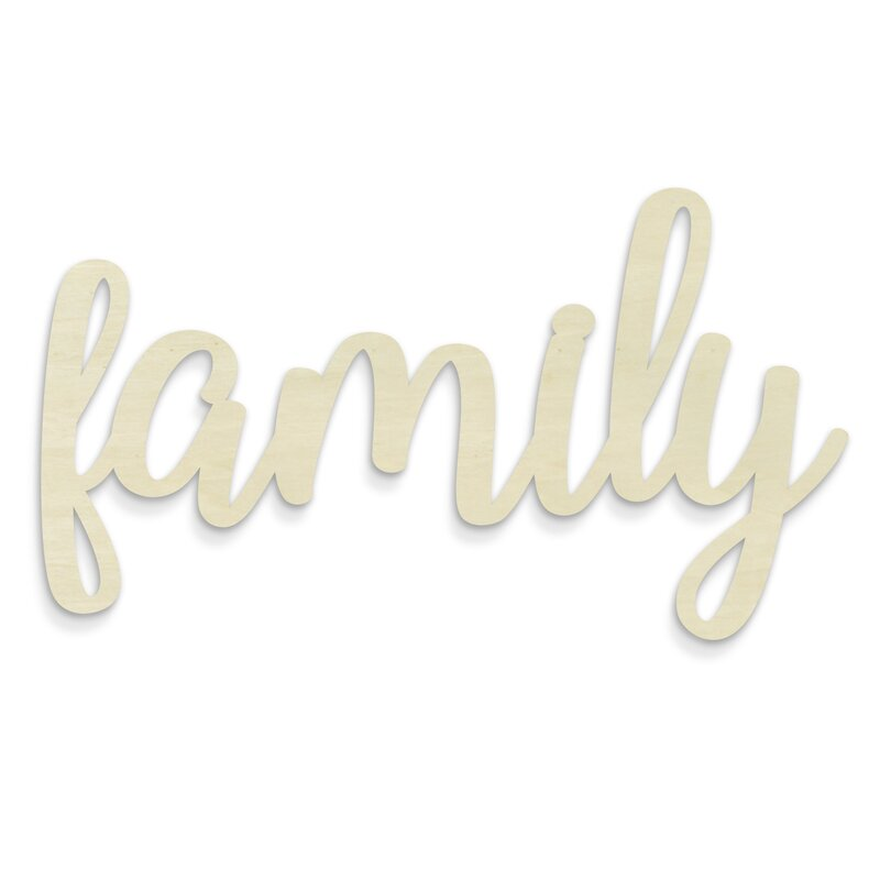 ivy bronx huge cursive word family wall décor wayfair