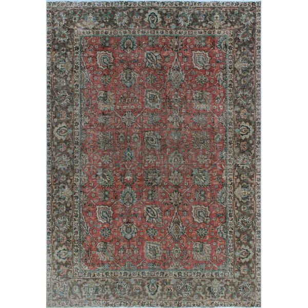 One-of-a-Kind Millikan Distressed Overdyed Carla Hand-Knotted Wool Red/Gray Are Rug by Bloomsbury Market