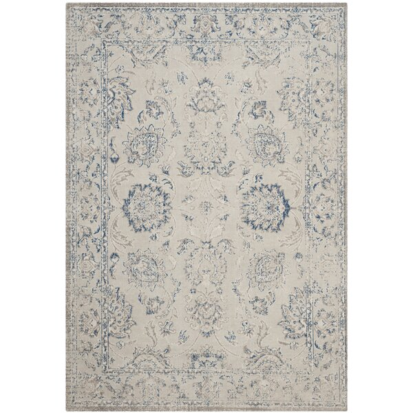 Nielsen Power loomed Cotton Gray/Blue Area Rug by Charlton Home