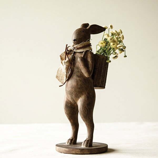 Knopf Decorative Resin Rabbit Figurine by Ophelia & Co.