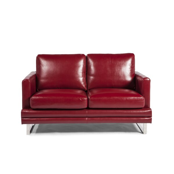 Hitchcock Leather Loveseat by Orren Ellis