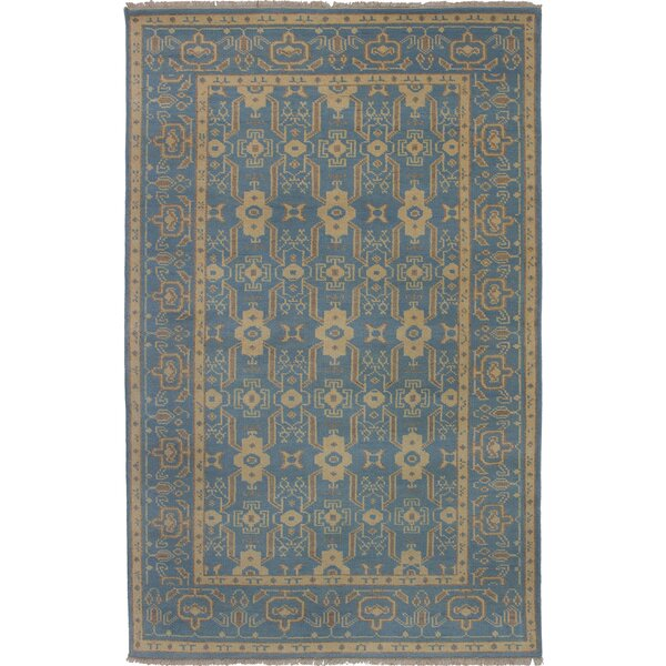 One-of-a-Kind Aleck Hand-Knotted Silk Blue Area Rug by Bloomsbury Market