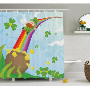 Affordable St. Patrick'S Day Abstract Cartoon Happy Leprechaun Sliding Down Rainbow Gold and Shamrock Shower Curtain ByThe Holiday Aisle