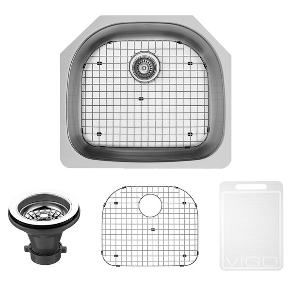 24 L x 21 W Undermount Kitchen Sink with Grid and Strainer by VIGO
