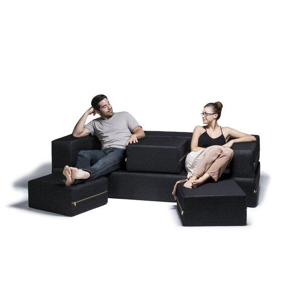 Eugene Denim Sleeper Sofa and Ottomans by Zipcode Design