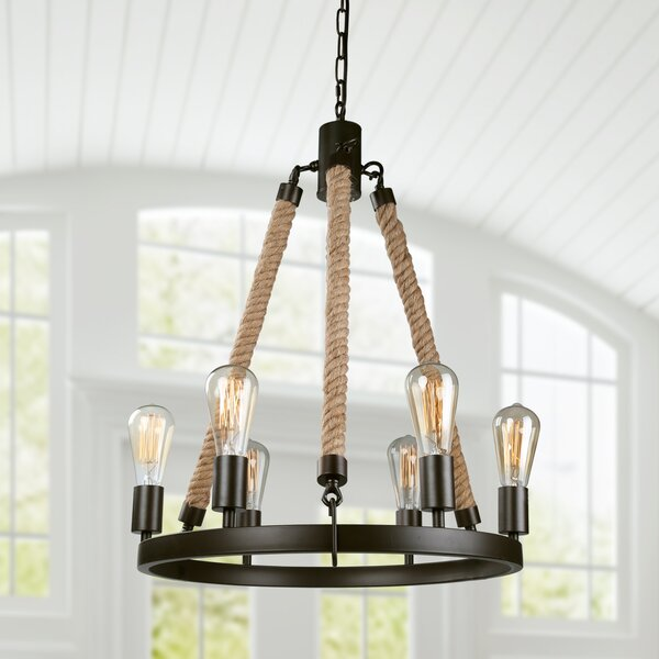Mcginnis 6 - Light Candle Style Wagon Wheel Chandelier with Rope Accent by Longshore Tides Longshore Tides