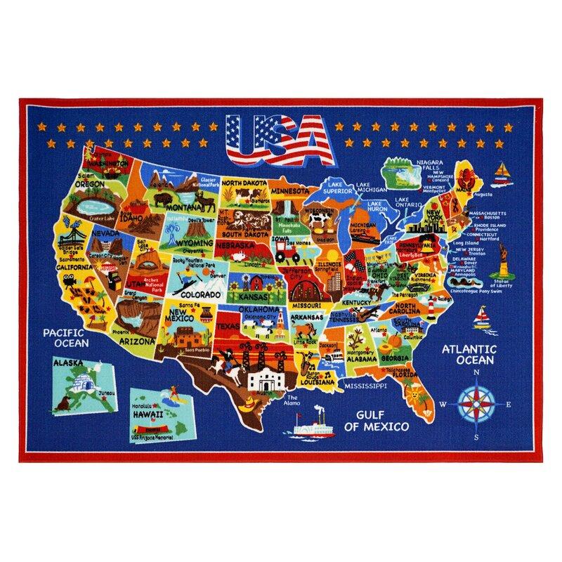 Smithsonian Rugs USA Map Area Rug & Reviews | Wayfair