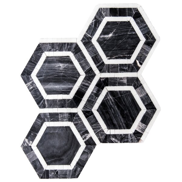 Santorini Roman Hex 6 x 6 Marble Mosaic Tile