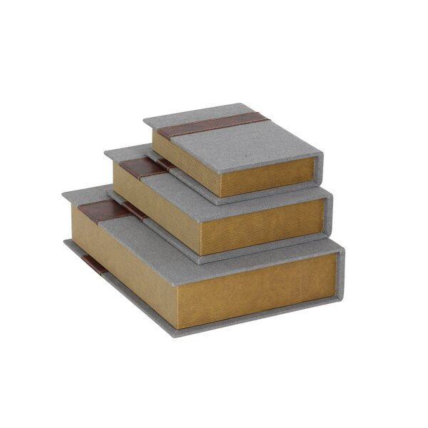 Wood/Fabric Book 3 Piece Decorative Box Set by Cole & Grey