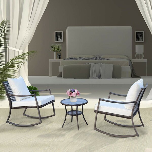 Ophelia Outdoor 3 Piece Rattan Conversation Set with Cushions by Gracie Oaks