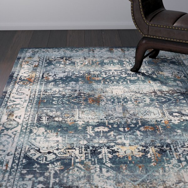 Wayne Teal/Ivory Area Rug by World Menagerie