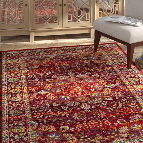Attayac Red Area Rug by Bloomsbury Market