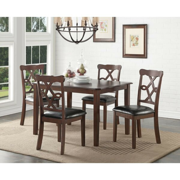Eggert Transitional 5 Piece Solid Wood Dining Set by Charlton Home
