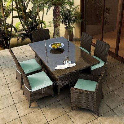 Hampton 7 Piece Dining Set with Sunbrella Cushions Forever Patio Fabric: Canvas Spa / Canvas Spa Welt