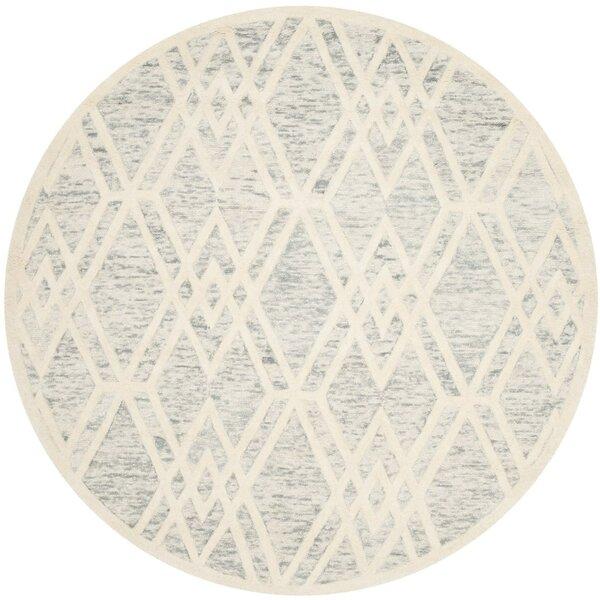Medina Hand Tufted Gray/Ivory Area Rug by Wrought Studio