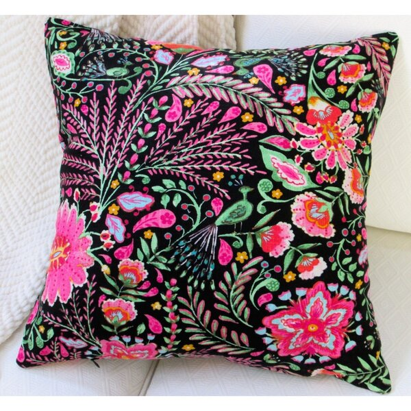 Peackock Garden Flowers Modern Cottage Floral Indoor Cotton Throw Pillow by Artisan Pillows