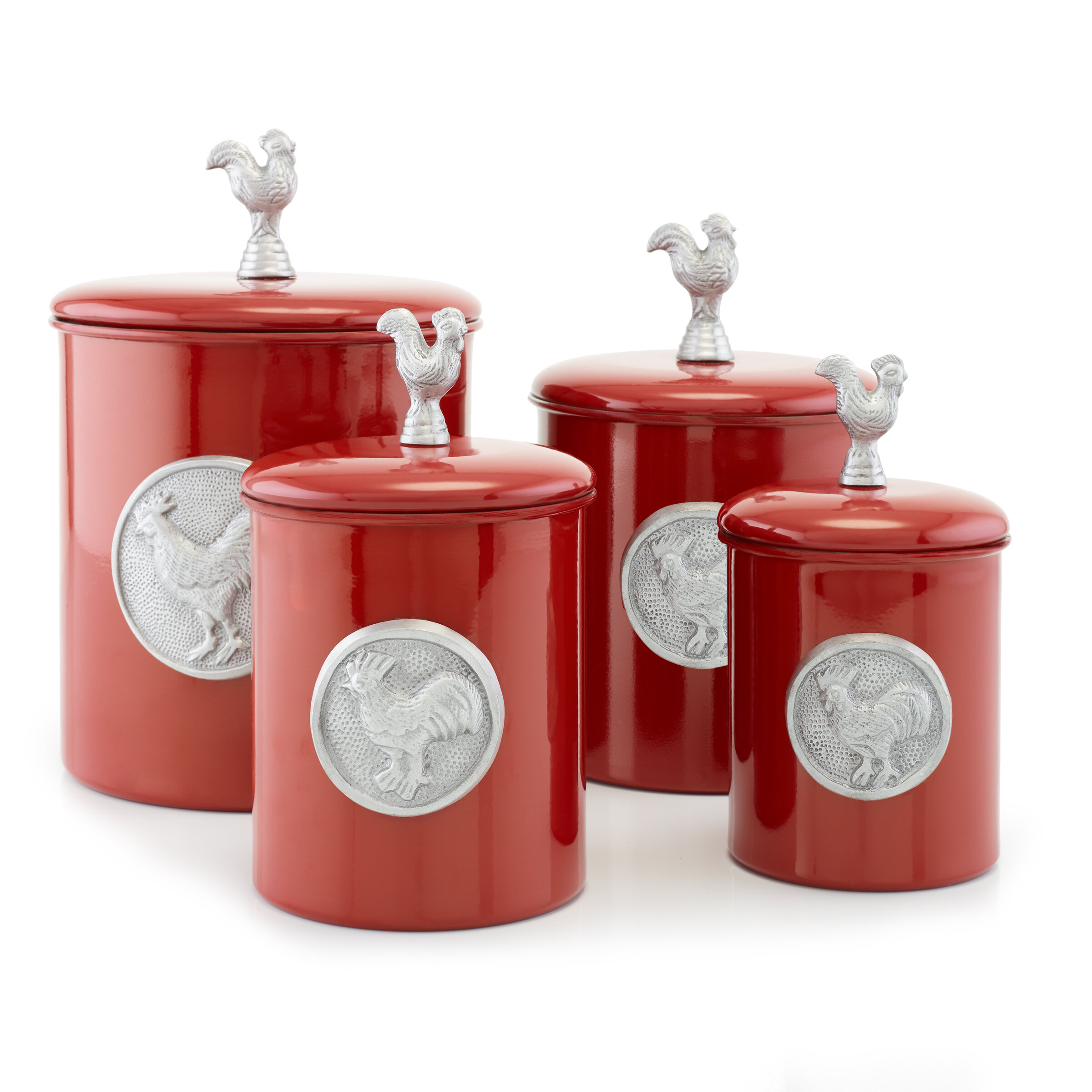 Old Dutch Red Rooster 4 Piece Kitchen Canister Set U0026 Reviews | Wayfair