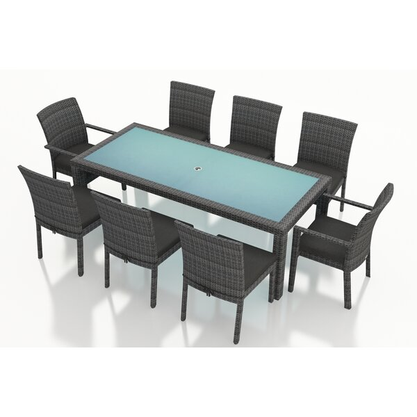 District 9 Piece Sunbrella Dining Set with Cushions by Harmonia Living