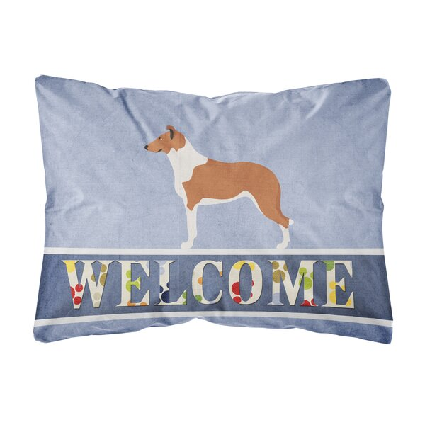 Saul Smooth Collie Welcome Indoor/Outdoor Throw Pillow by Winston Porter