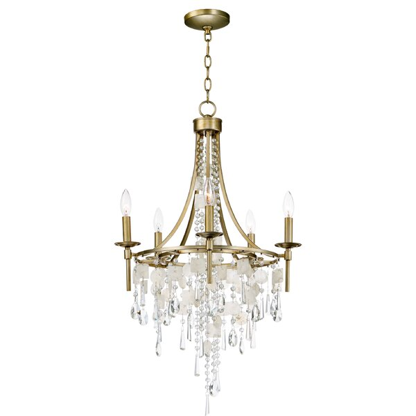 Pinheiro 5-Light Candle Style Wagon Wheel Chandelier by Bungalow Rose Bungalow Rose