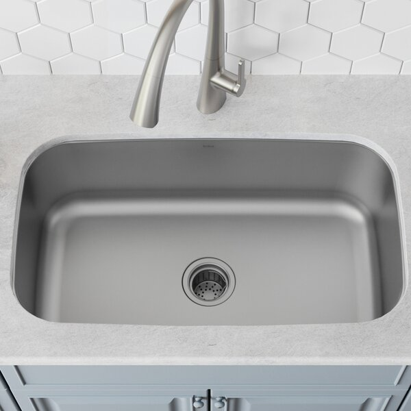 Stainless Steel 32 L x 19 W Undermount Kitchen Sink with Drain Assembly by Kraus