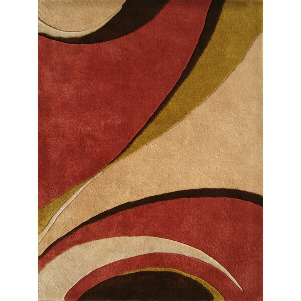 Saratoga Hand-Woven Red/Beige Area Rug by Threadbind