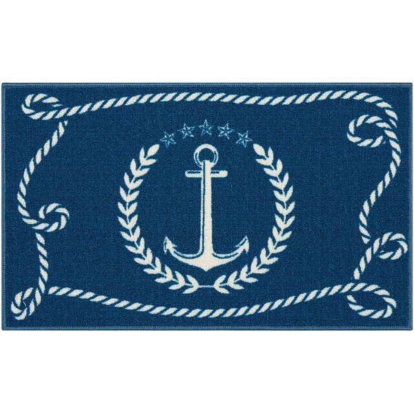 Custis Navy Area Rug by Breakwater Bay
