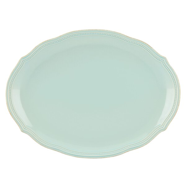 French Perle Bead Oval Platter by Lenox