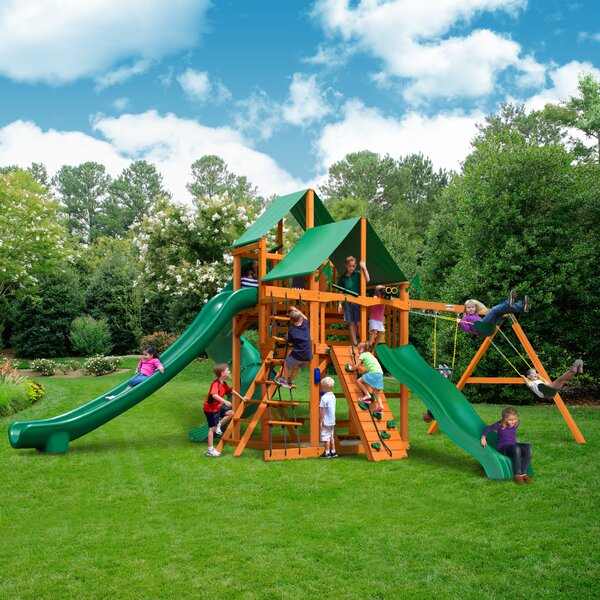 Great Skye II with Amber Posts and Canopy Cedar Swing Set by Gorilla Playsets