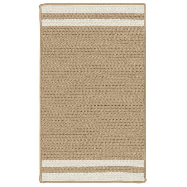 Kellie Stripe Hand-Braided Brown/Ivory Indoor/Outdoor Area Rug by Breakwater Bay