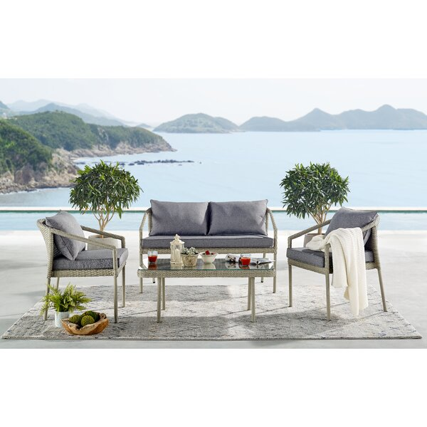 Pancoast 4 Piece Rattan Complete Patio Set with Cushions by Highland Dunes