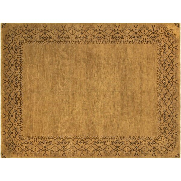 Badham Hand-Knotted Rectangle Wool Tan Area Rug by Bloomsbury Market