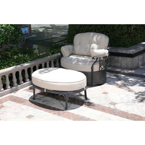 Ubaid Swivel Patio Chair with Sunbrella Cushions and Ottoman by Charlton Home Charlton Home