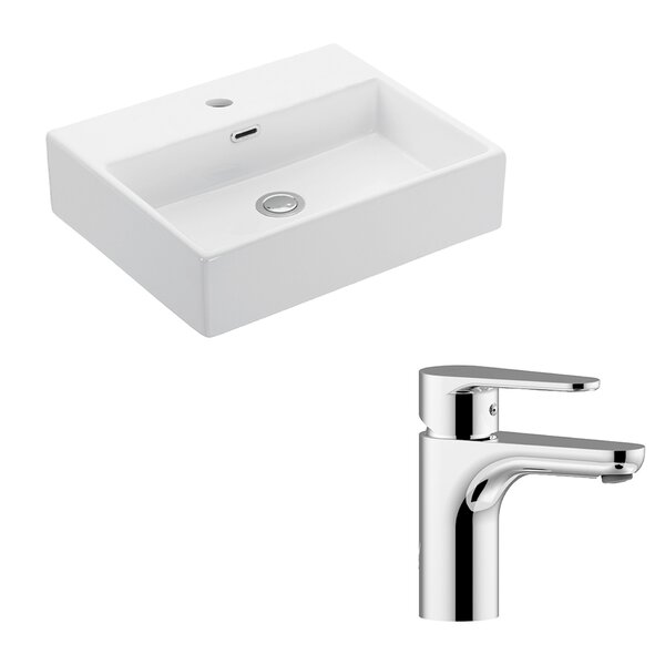 Quattro Ceramic 20 Wall Mount Bathroom Sink with Faucet and Overflow by WS Bath Collections