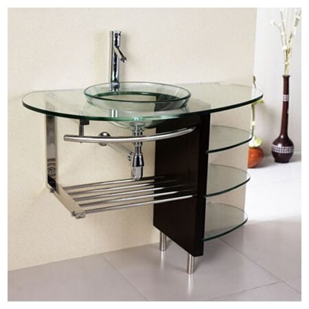 Glass Circular Vessel Bathroom Sink with Faucet by Kokols