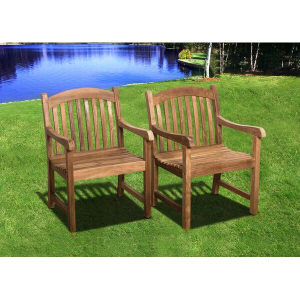 Lucien Teak Stacking Patio Dining Chair (Set of 2) by Longshore Tides
