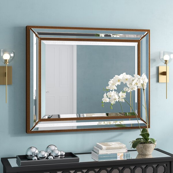 Rectangle Antique Bronze Wood Wall Mirror by Willa Arlo Interiors