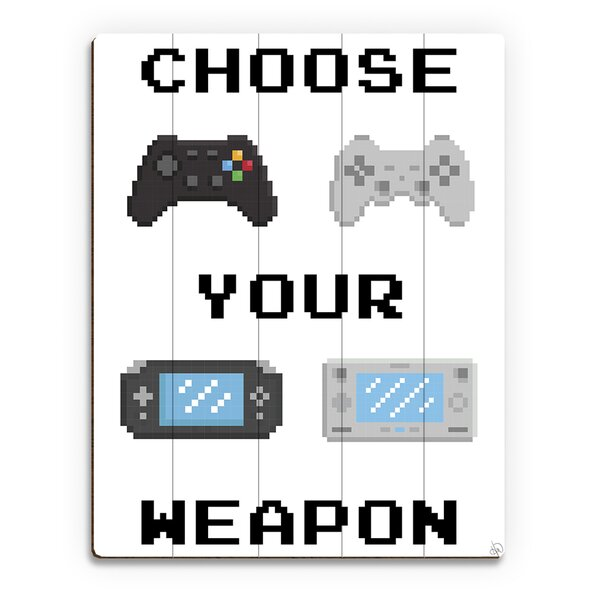 Wood Slats Choose Your Weapon Graphic Art on Plaque in White by Click Wall Art