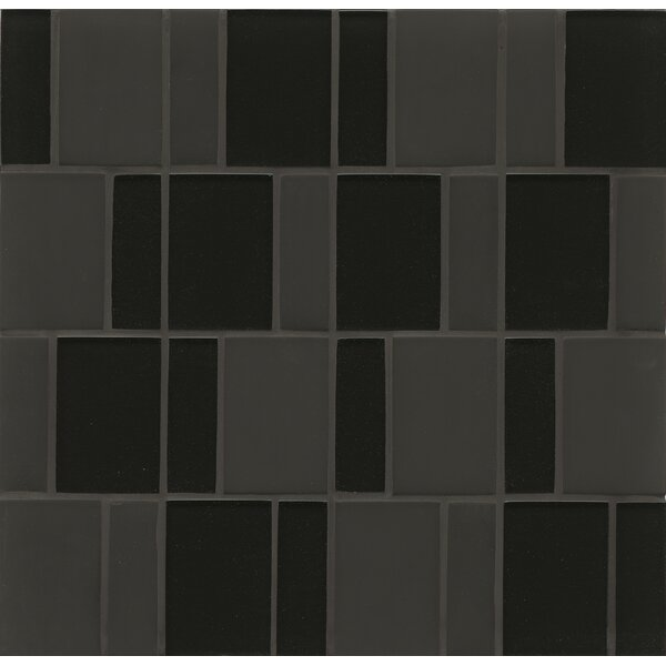 Remy Glass Mosaic Brick Tile in Black by Grayson Martin