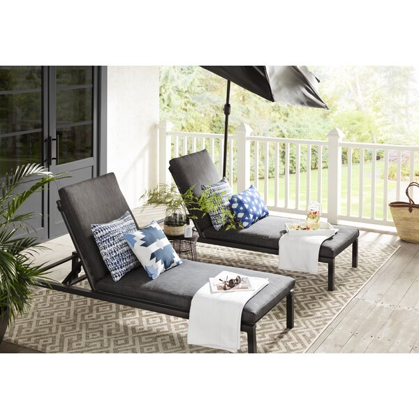 Mirando Sun Reclining Chaise Lounger Set with Cushions (Set of 2)