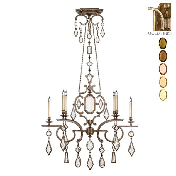 Encased Gems 6-Light Candle Style Geometric Chandelier By Fine Art Lamps