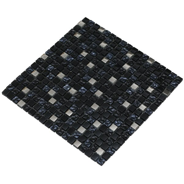 Mesh Pess 12 x 12 Glass/Stone Mosaic Tile in Black/Silver by Mirrella