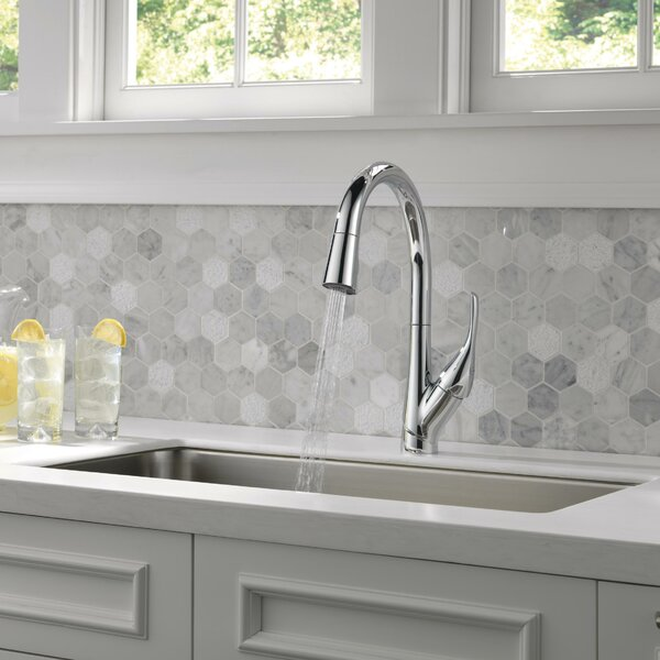 Esque Pull Down Touch Single Handle Kitchen Faucet with Diamond Seal Technology by Delta