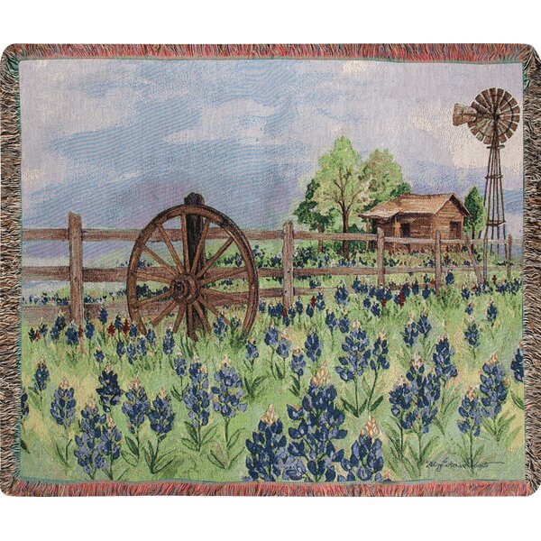 Bluebonnets Beauty Tapestry Cotton Throw by Manual Woodworkers & Weavers