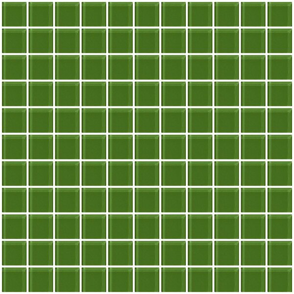 1 x 1 Glass Mosaic Tile in Glossy Emerald green by Susan Jablon